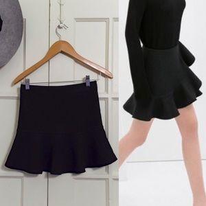 Black flare mini skirt